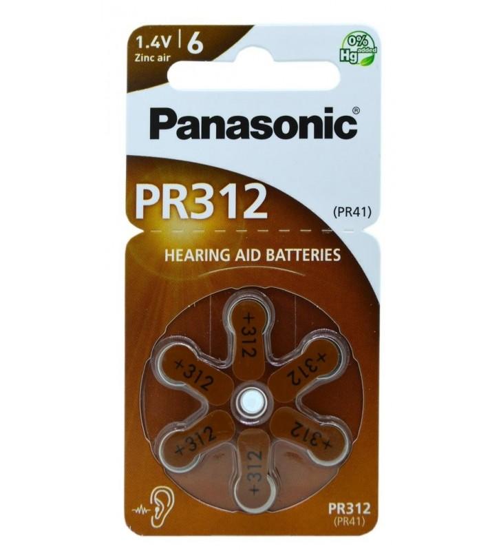 Μπαταρίες Ακουστικών Βαρηκοΐας Panasonic PR 312 1.4V Τεμ. 6