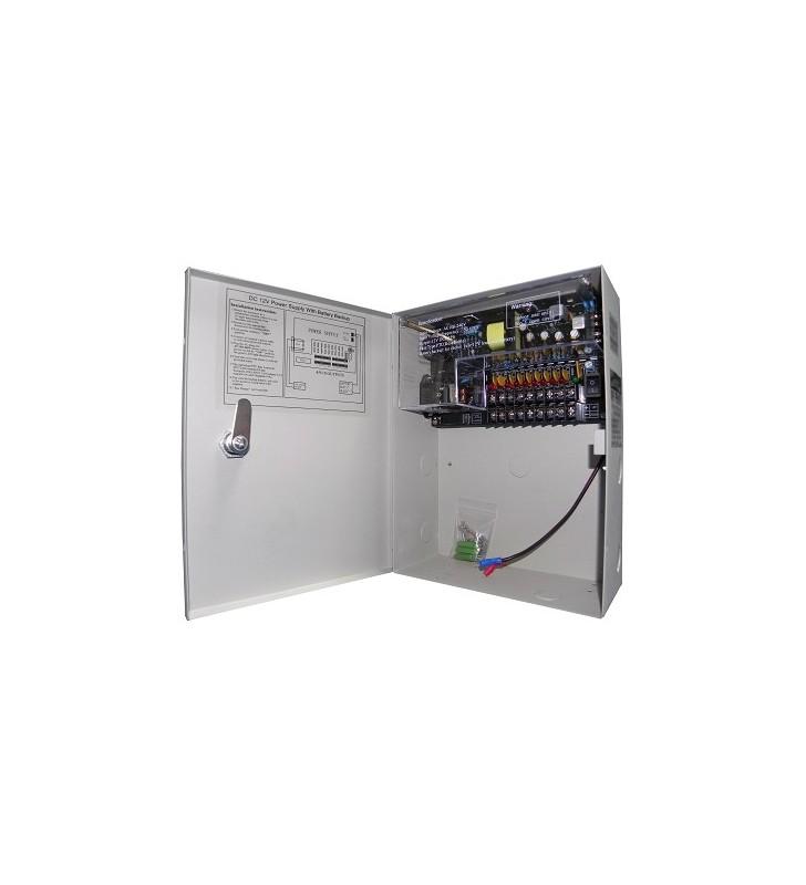 Σταθεροποιημένο τροφοδοτικό 12V / 5A / 60W, 9 εξ, Με δυν/τα προσθήκης μπαταρίας, ANGA CP1209-5A-9-B