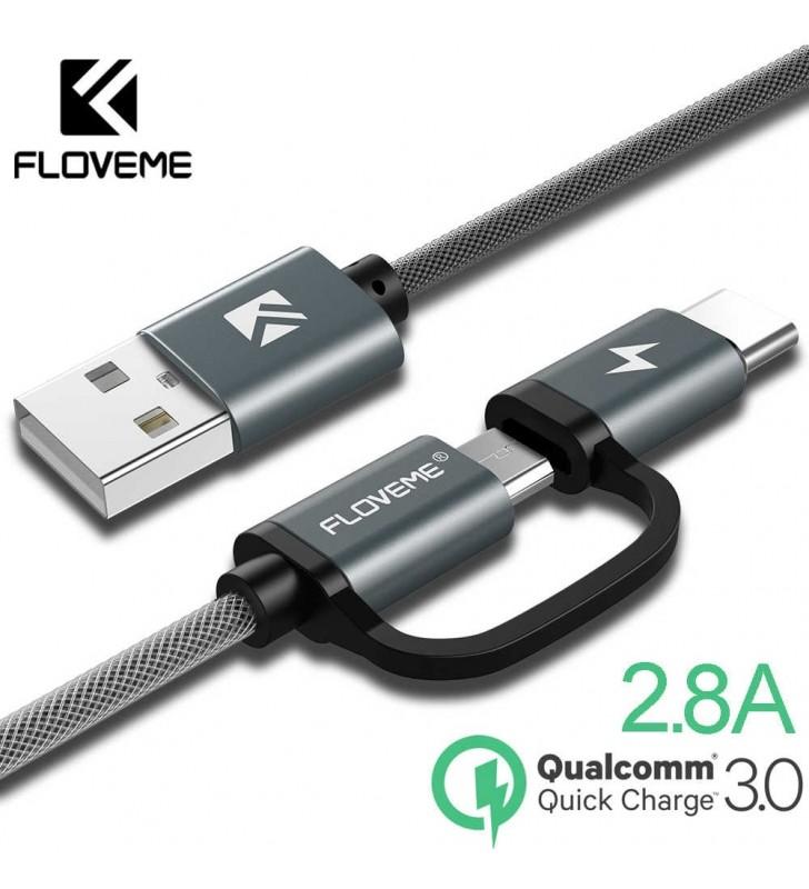 Καλώδιο Γρήγορης φόρτησης QC 3.0 Micro USB και Type C, 80cm, FLOVEME