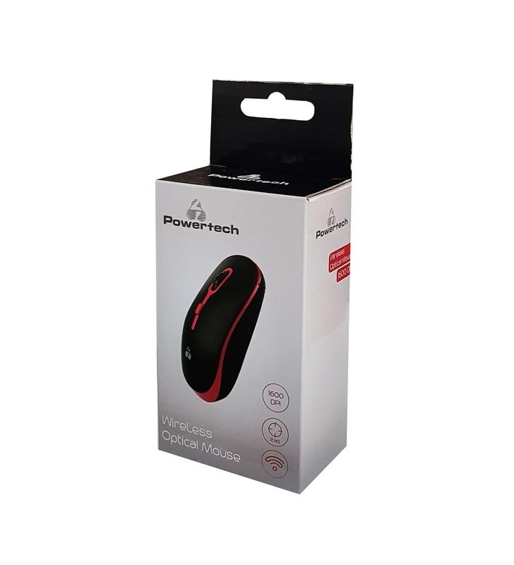 Ασύρματο ποντίκι, Οπτικό, 1600DPI, Μαύρο-Κόκκινο - (PT-608) POWERTECH