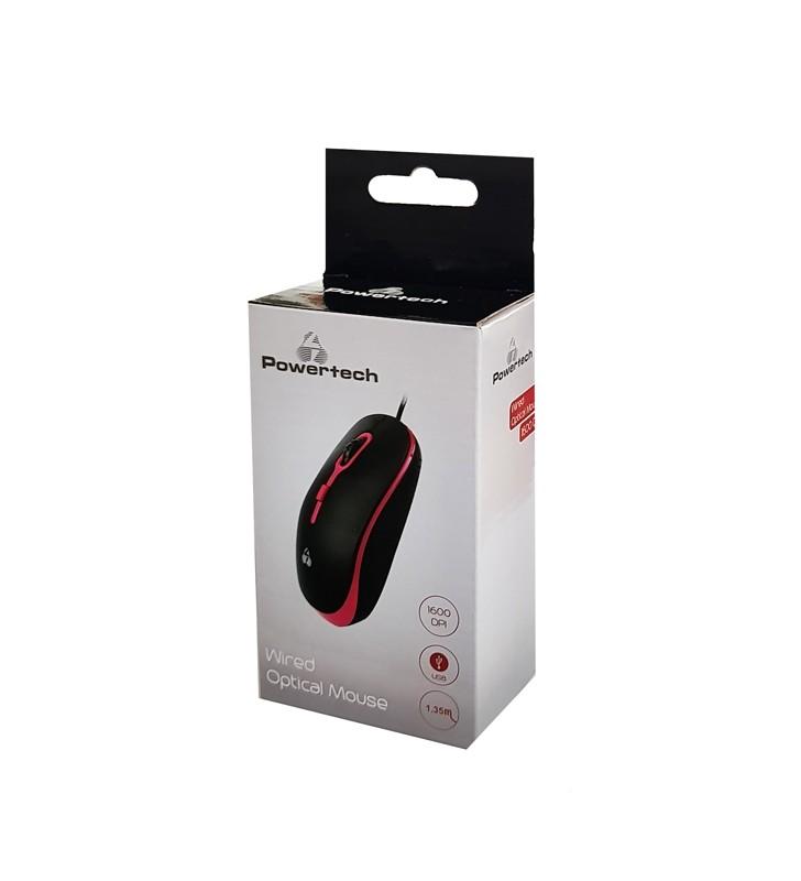 Ενσύρματο ποντίκι, Οπτικό, 1600DPI, USB, 1.35m, Μαύρο-Κόκκινο - (PT-606) POWERTECH