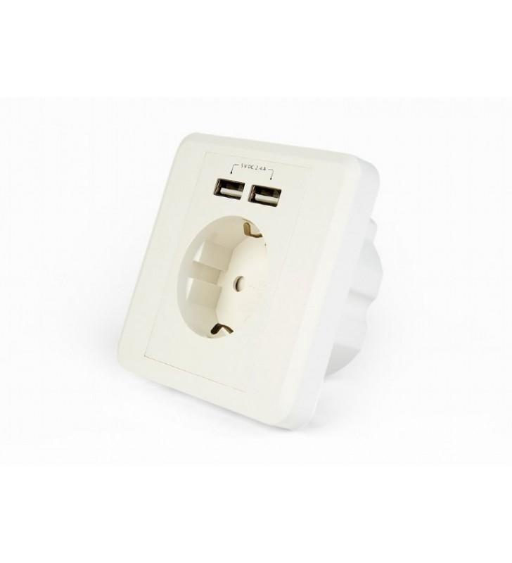 ΠΡΙΖΑ ΤΟΙΧΟΥ ΧΩΝΕΥΤΗ ΜΕ 2 ΘΥΡΕΣ USB ΦΟΡΤΙΣΗΣ 5v 2.4A ΑΣΠΡΗ ENERGENIE EG-ACU2A2-01