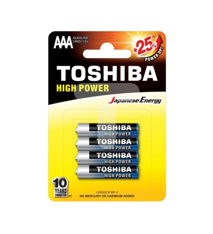 ΜΠΑΤΑΡΙΑ TOSHIBA HIGH POWER +25% AAA - LR03GCP BP-4, 4Τεμ.