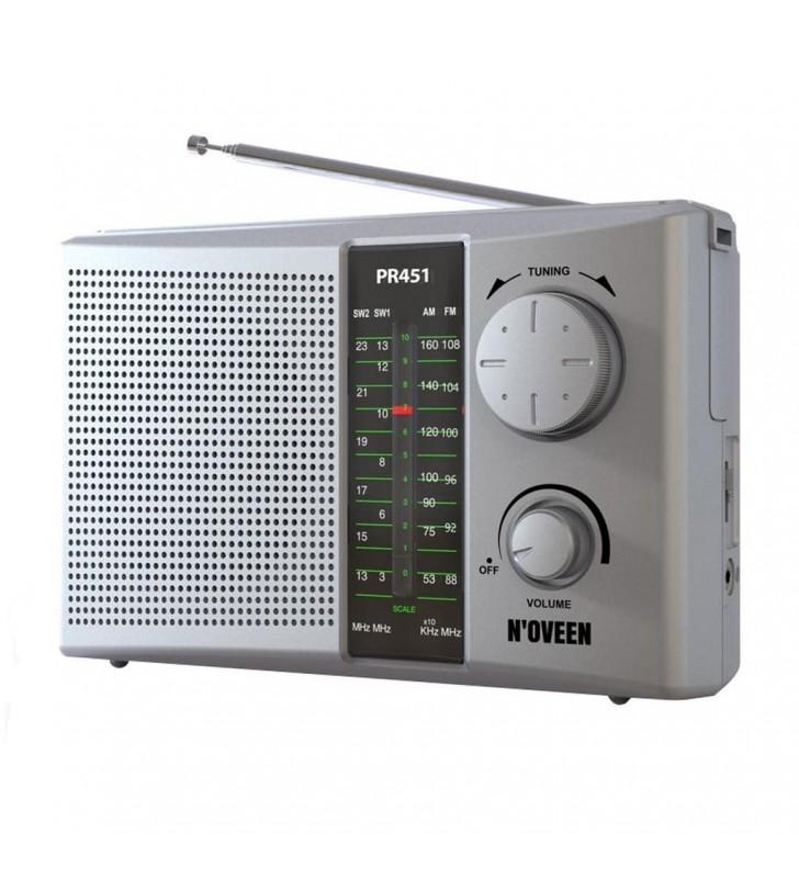 Φορητό Ραδιόφωνο N'oveen PR451 1W Ασημί με Τροφοδοσία Ρεύματος και Μπαταρίας