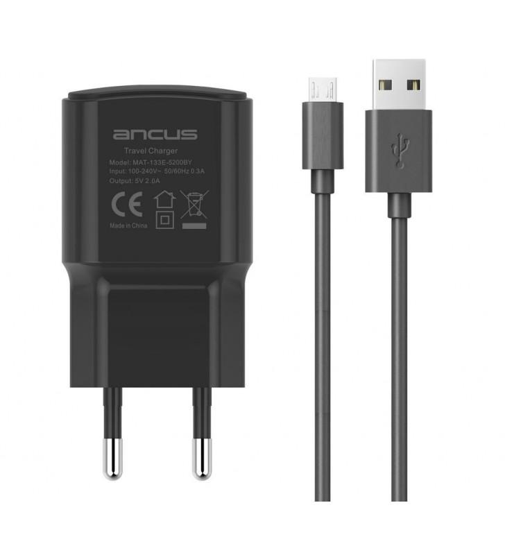 Φορτιστής Ταξιδίου Ancus Supreme Series USB 5V / 2A με Αποσπώμενο Καλώδιο Micro USB 1m Μαύρος
