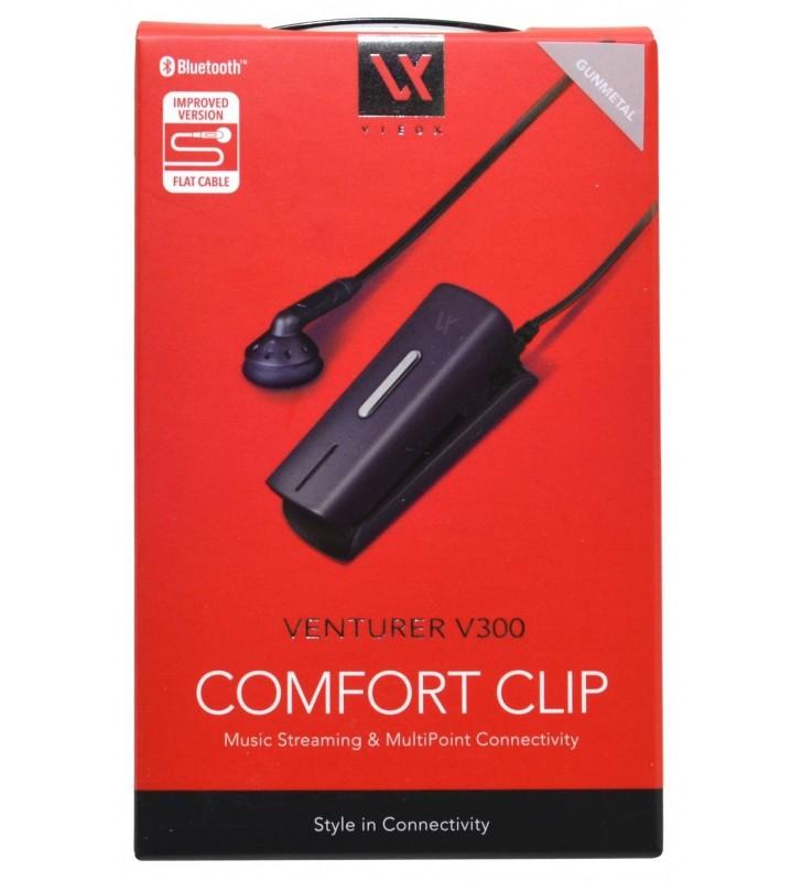 Bluetooth Hands Free Vieox Venturer V300 με Πλακέ Καλώδιο και Buzzer. Multi Pairing Γκρί