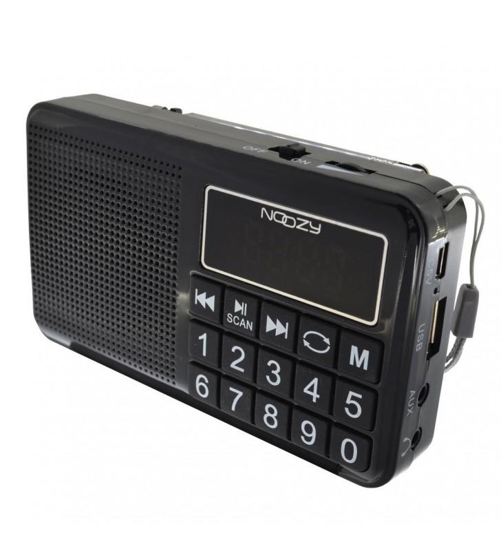 Φορητό Ραδιόφωνο Noozy S24 3W Μαύρο με USB, Κάρτα Μνήμης, Audio-in και Επαναφ/νη Μπαταρία