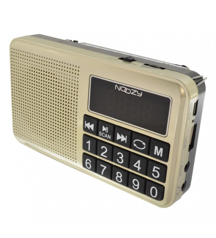 Φορητό Ραδιόφωνο Noozy S24 3W Χρυσαφί με USB, Κάρτα Μνήμης, Audio-in και Επαναφ/νη Μπαταρία