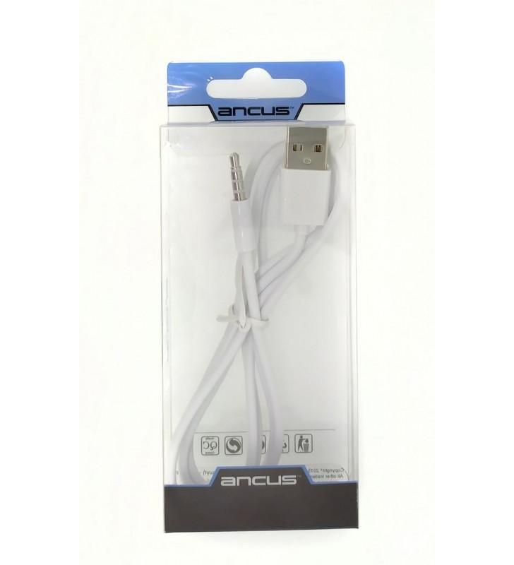 Καλώδιο Σύνδεσης Ancus USB σε 3.5 mm Αρσενικό Λευκό 1μ. (24575)