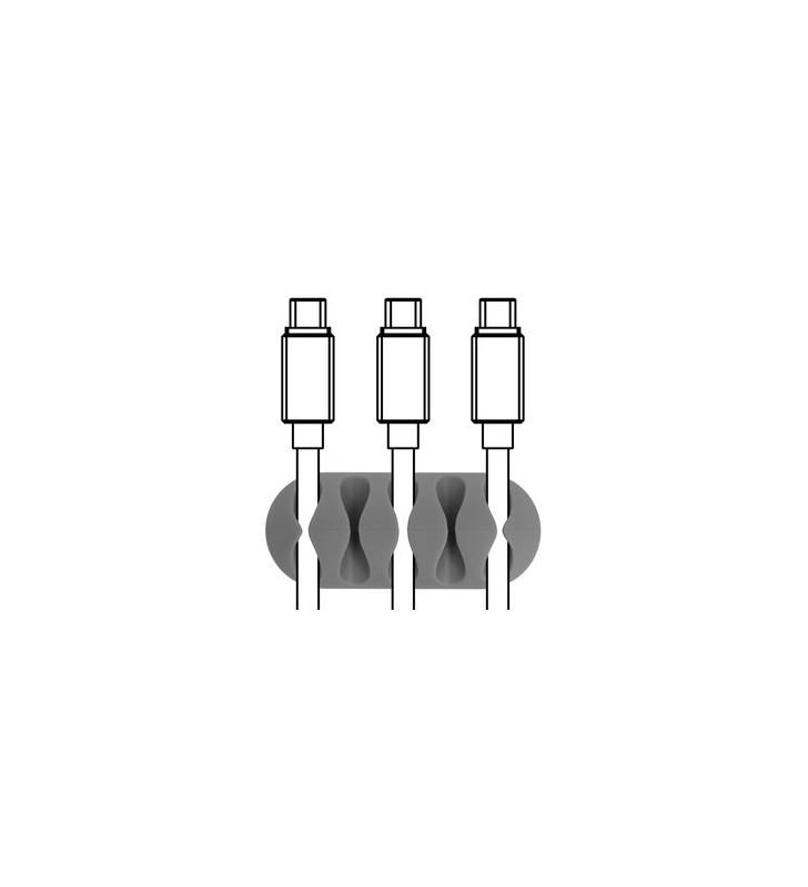 Οργανωτής καλωδίων σιλικόνης, 5 καλωδίων, 6τμχ - POWERTECH (TIES-011)