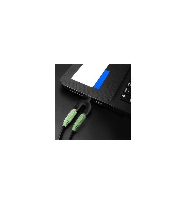 Splitter - Διακλαδωτής καρφί 3.5mm 4pin (M) σε 2x 3.5mm 4pin (F), μαύρο - POWERTECH (CAB-J040)