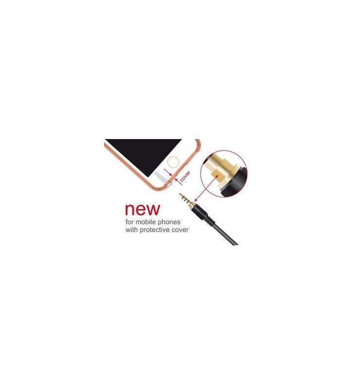 ΚΑΛΩΔΙΩΣΗ ΚΑΡΦΙ ΣΕ ΚΑΡΦΙ ΑΡΣ/ΑΡΣ Jack stereo 4pin 3.5mm, 90°, μαύρο, 0.5m - DELOCK (85607)