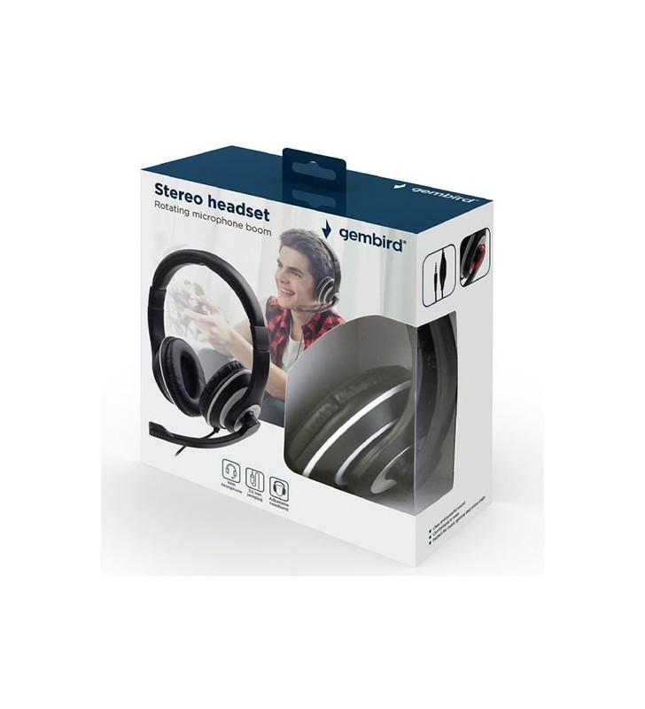 Ακουστικά Κεφαλής JACK STEREO HEADSET BLACK WITH WHITE RING - GEMBIRD (MHS-03-BKWT)