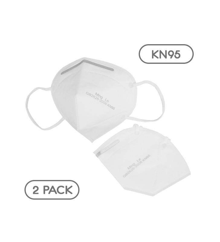 Μάσκα Μίας Χρήσης KN95 - FFP2 GB2626-2006 EN 14683-2019 Πακέτο 2 Τεμαχίων GloboStar 777772