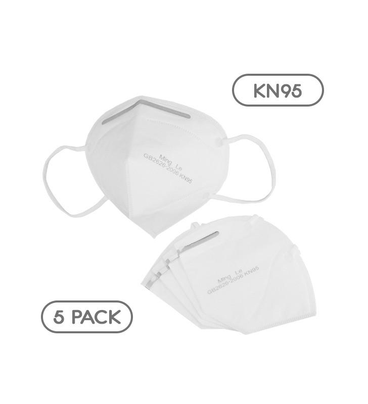 Μάσκα Μίας Χρήσης KN95 - FFP2 GB2626-2006 EN 14683-2019 Πακέτο 5 Τεμαχίων GloboStar 777773
