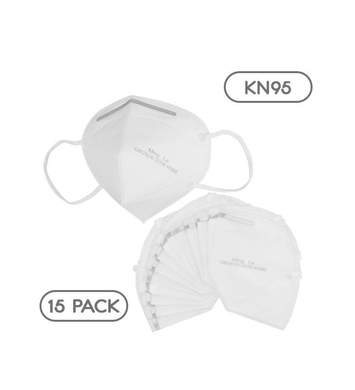 Μάσκα Μίας Χρήσης KN95 - FFP2 GB2626-2006 EN 14683-2019 Πακέτο 15 Τεμαχίων GloboStar 777775