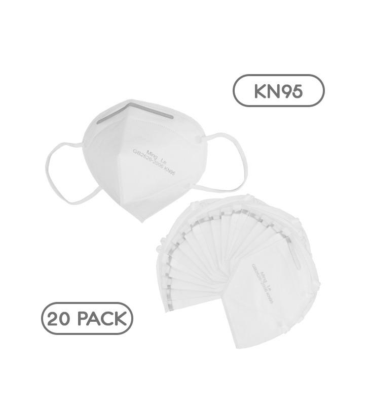 Μάσκα Μίας Χρήσης KN95 - FFP2 GB2626-2006 EN 14683-2019 Πακέτο 20 Τεμαχίων GloboStar 777776
