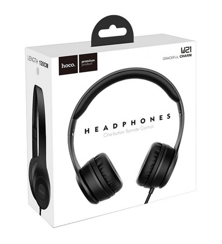 Ακουστικά Stereo Hoco W21 Graceful Charm 3.5mm με Μικρόφωνο Μαύρα