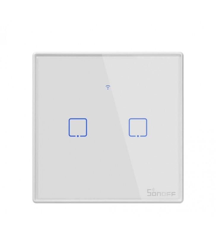 Original Sonoff T2 TX 2 Gang - Διπλός Έξυπνος Γυάλινος Διακόπτης Αφής Επίτοιχος WiFi, RF (T2EU2C-TX