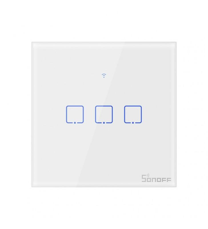 Original Sonoff T2 TX 3 Gang - Τριπλός Έξυπνος Γυάλινος Διακόπτης Αφής Επίτοιχος WiFi, RF (T2EU3C-TX
