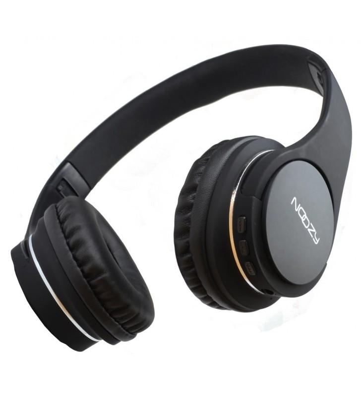 Bluetooth Ακουστικά Stereo Noozy BT-13 με Ενσωματωμένο Μικρόφωνο και Καλώδιο 3,5mm Μαύρο με μεγάλη Αυτονομία