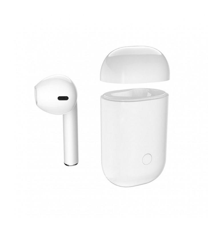 Wireless Bluetooth Air Plus Mini (δεξί) Λευκό με Ένα Ακουστικό και Βάση Φόρτισης, Μεταφοράς