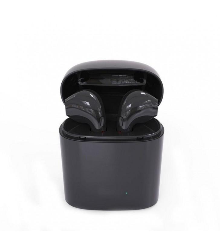 Wireless Bluetooth i7S Μαύρο με Βάση Φόρτισης, Μεταφοράς